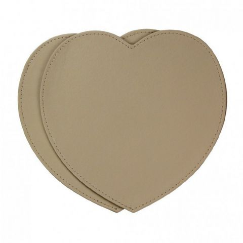 Cream Heart Faux Leatherette Placemats Set of 2